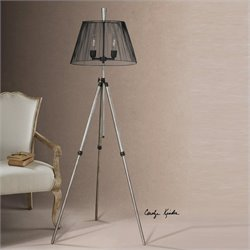 Uttermost Armada Tripod Floor Lamp in Rust Silver with Antiqued Black