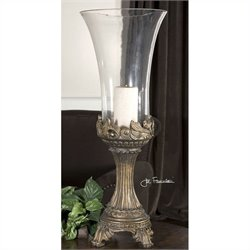 Uttermost Rococo Gray Patina Golden Hurricane Candleholder