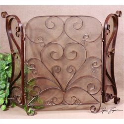 Uttermost Daymeion Metal Fireplace Screen in Cocoa Brown