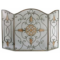 Uttermost Egan Wrought Iron Fireplace Screen in Dark Brown