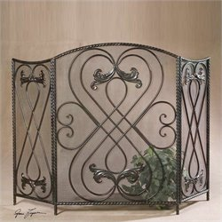 Uttermost Effie Metal Fireplace Screen in Distressed Aged Black