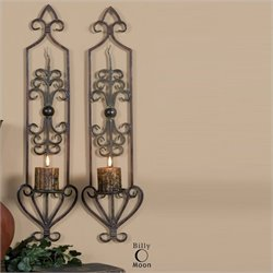 Uttermost Privas Metal Wall Sconces in Mahogany Rust (Set of 2)