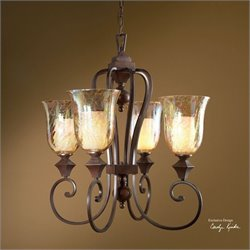 Uttermost Elba 4 Light Candle Chandelier in Spice