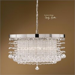 Uttermost Fascination 3 Light Crystal and Chrome Plated Rim Chandelier