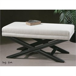 Uttermost Viera Sandy White Woven Bench in Crackled Black