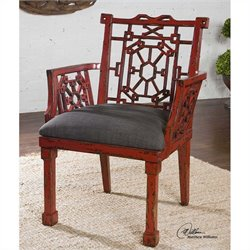 Uttermost Camdonl Gray Fabric Arm Chair in Red