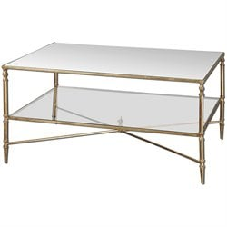 Uttermost Henzler Mirrored Glass Coffee Table in Gold
