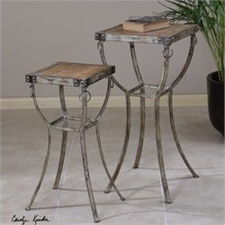 Uttermost Hewson Rustic Metal Plant Stands in Natural Wood (Set of 2)