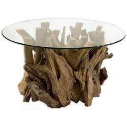 Uttermost Driftwood Glass Top Unfinished Teak Driftwood Cocktail Table