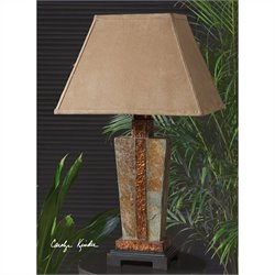 Uttermost Indoor and Outdoor Slate Accent Lamp in Hammered Copper
