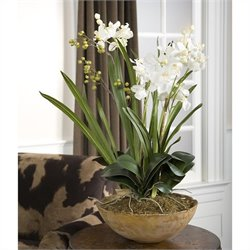 Uttermost Moth Orchid Hand Painted Planter in Natural Brown