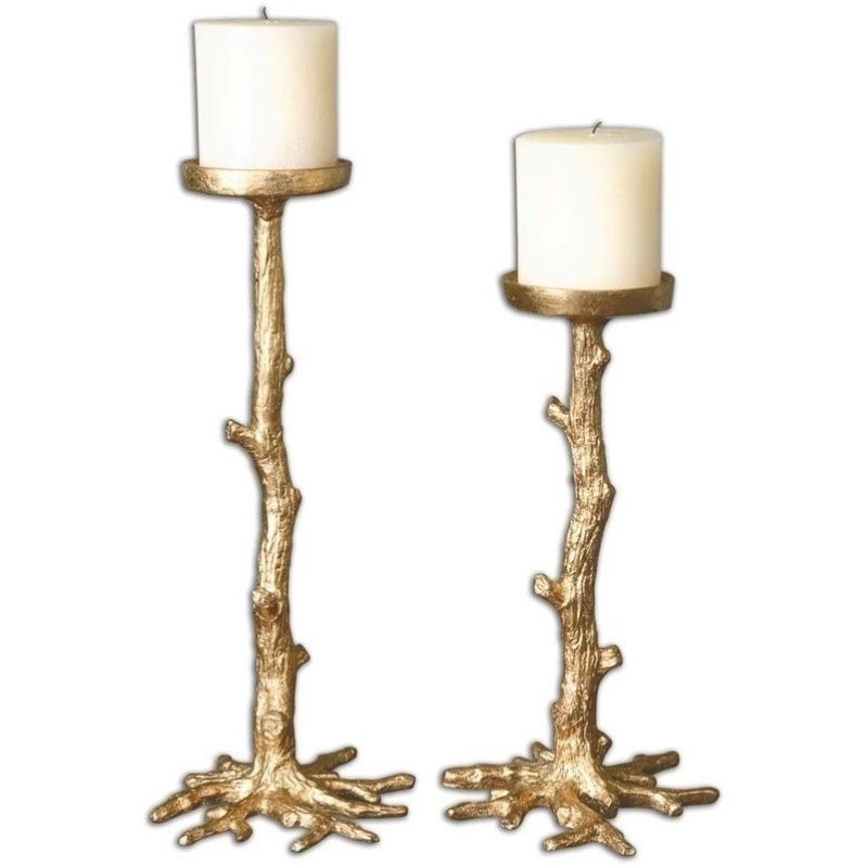Uttermost Maple Gold Candleholders (Set of 2) 19886