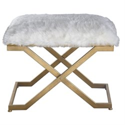 Uttermost Farran Fur Bench in Antiqued Gold Leaf