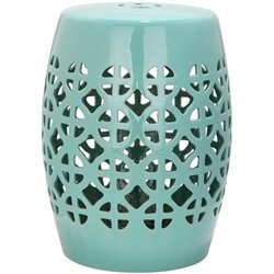 Safavieh Circle Lattice Ceramic Garden Stool in Robbins Egg Blue