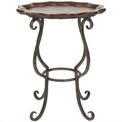 Safavieh Lorraine Scalloped Birch and Iron Side Table in Dark Brown Cherry