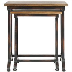 Safavieh Annie Black Oak Brown Nesting Tables in Black (Set of 2)