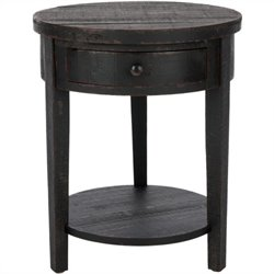 Safavieh Doris Round End Table in Distressed Black