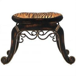 Safavieh Marion Stool in Dark Brown and Tiger