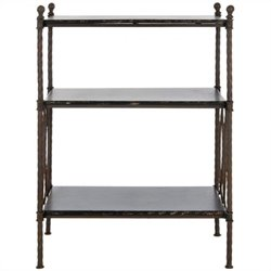 Safavieh Marshal Fir Wood and Iron 3-tier Stand in Walnut Brown