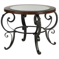 Safavieh Linda Birch and Iron Side Table in Dark Brown