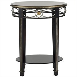 Safavieh Debra Birch and Iron Side Table in Dark Brown