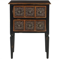 Safavieh Kenneth Birch and Iron Side Table in Dark Brown