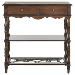 Safavieh Fiona Birch Wood Console in Dark Brown