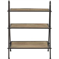 Safavieh Oswald Fir Wood Etagere in Natural Color and Black