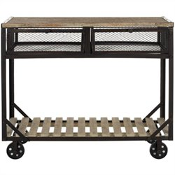 Safavieh Shroder Fir Wood Rolling Console in Natural Color and Black