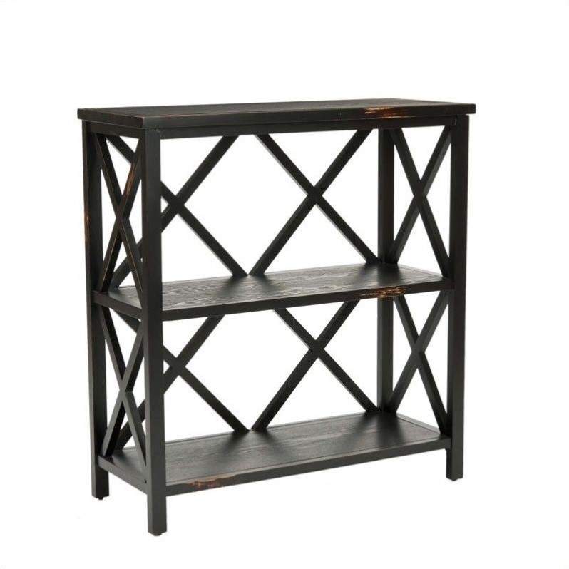 Lucas Distressed Etagere in Black
