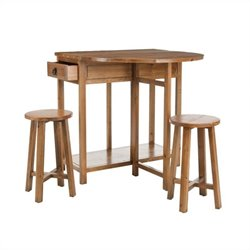 Safavieh Preston Fir Wood Bar and Stools Set in Medium Oak