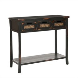 Safavieh Autumn Pine Wood 3-Drawer Console Table in Black