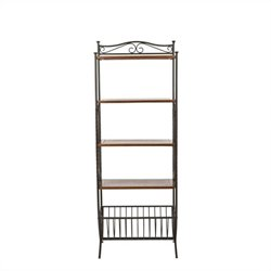 Safavieh Allenington Pine Wood Etagere in Pewter and Walnut