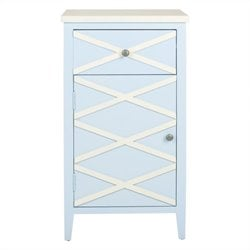 Safavieh Brandy Poplar Wood Cabinet in Light Blue and White