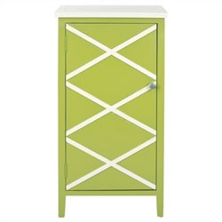 Safavieh Cary Poplar Wood Cabinet in Green and White