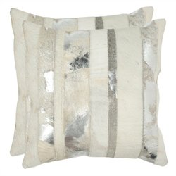 Safavieh Peyton 22-inch Decorative Pillows in Silver (Set of 2)