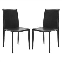 Safavieh Ken Iron and Leather Kd  Dining Chair in Black (set of 2)