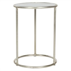 Safavieh Shay Iron and Glass Accent Table in Silver and Grey