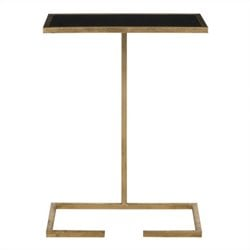 Safavieh Neil Iron and Glass Accent Table in Gold and Black