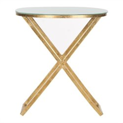 Safavieh Riona Iron and Glass Accent Table in Gold and White
