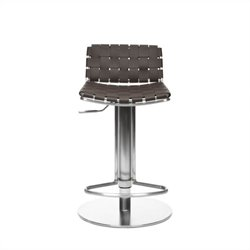 Safavieh Liam Leather Seat Steel Adjustable Bar Stool in Brown