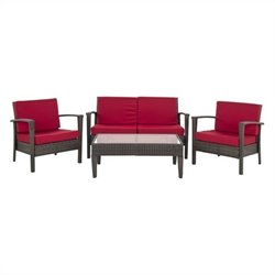 Safavieh Piscataway Steel 4 Piece Set in Brown and Red