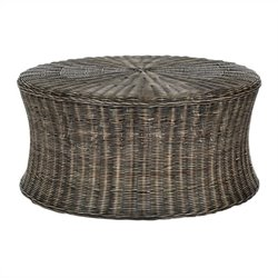 Safavieh Ruxton Wicker and Wooden Ottoman in Dark Brown