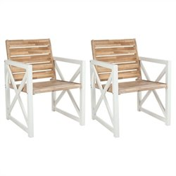 Safavieh Irina Armchair in White and Oak (Set of 2)