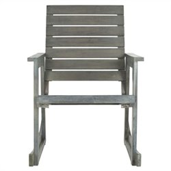 Safavieh Alexei Steel and Acacia Wood Rocking Chair in Ash Grey