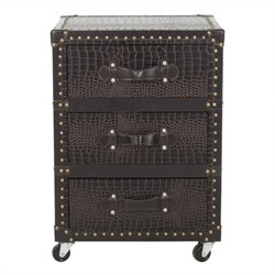 Safavieh Llyoyd 3 Drawer Rolling Chest in Dark Brown and Leather-Black