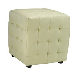 Safavieh Kristoff Bi-cast Leather Ottomans in Off White (Set of 2)