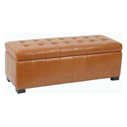 Safavieh Large Manhattan Beech Wood Storage Bench in Saddle