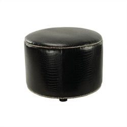 Safavieh Safford Leather Ottoman in Crocodile-print