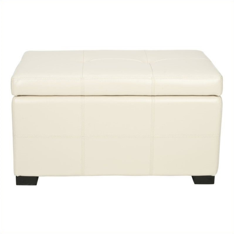 Safavieh Small Maiden Tufted Leather Storage Ottoman In